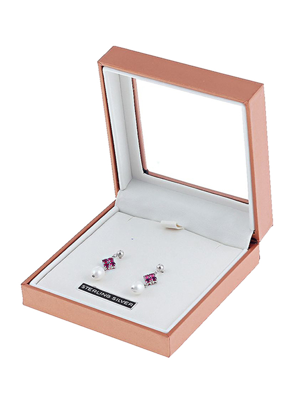 Equss Sterling Silver Drop & Dangle Earrings for Women with White Pearl and Maroon Crystal Stone, Dark Pink