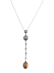Equss Sterling Silver Y-Shape Necklace for Women with Gold/Silver/Blue Crystal Stone Pendant, Grey/Gold