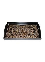 Oikonomia 45cm Porcelain Cavez Traditional Serving Tray, PRU6364, Black/White/Brown