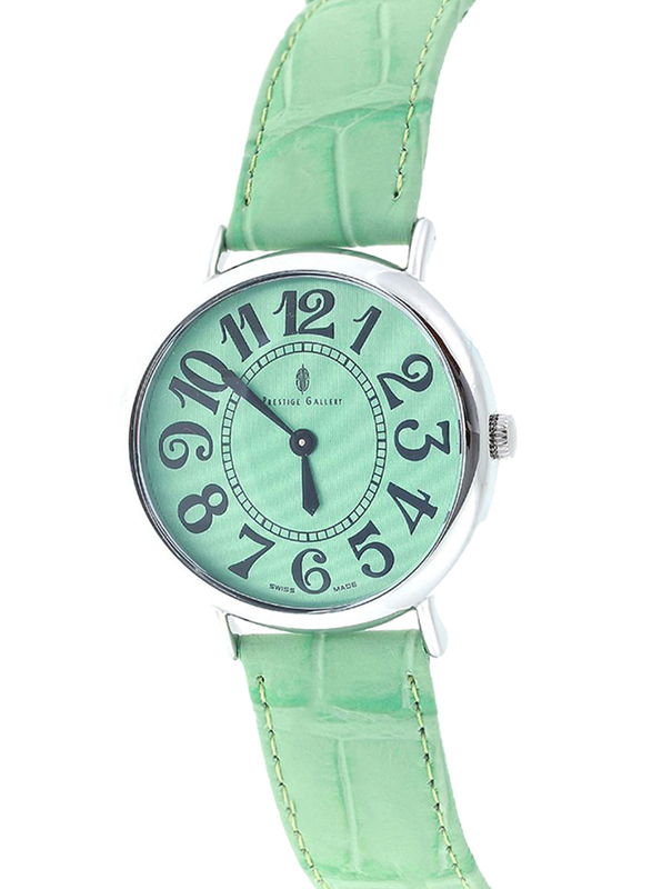 Prestige Analog Unisex Watch with Leather Band, Water Resistant, 21174 3P-VB, Green