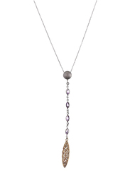 Equss Sterling Silver Y-Shape Necklace for Women with Purple Crystal Pendant, Silver