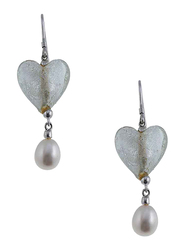 Equss Sterling Silver Earrings and Necklace Set for Women with White Pearl and Heart Shape Pendant, Clear