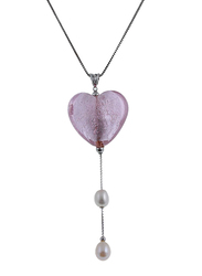 Equss Sterling Silver Necklace for Women with Heart Shape Pink Crystal Stone and White Pearl Pendant, Pink