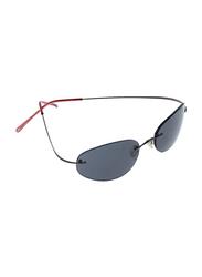 Lancaster Shock Men Polarized Rimless Oval Sunglasses, Grey Lens, SUN02A, 60/25/120