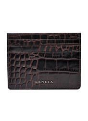 Lencia Leather Card Holder for Men, LMWC-15985, Dark Brown