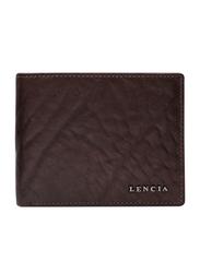 Lencia Leather Bi-Fold Wallet for Men, LMW-15990, Dark Brown