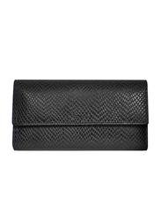 Lencia Leather Flap Wallet for Women, LWL-15983, Black