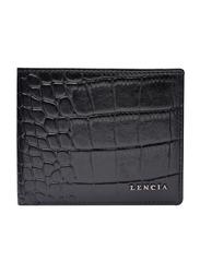 Lencia Leather Bi-Fold Wallet for Men, LMW-16022-B, Black