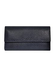 Lencia Leather Flap Wallet for Women, LWL-15983, Navy Blue