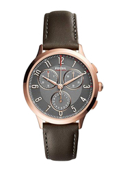 Fossil Analog Leather Watch for Women, Water Resistant with Chronograph, Brown-Grey, CH3099