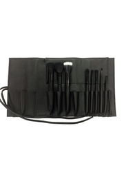 Inika Professional Vegan Brush Roll Set, 8 Pieces, Black