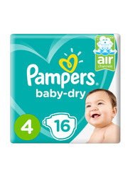 Pampers Baby Dry Diapers, Size 4, Maxi, 9-14 kg, 16 Count