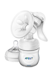 Philips Avent Manual Breast Pump with Bottle, White