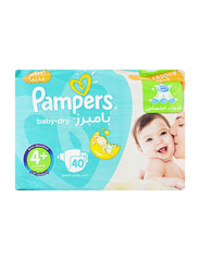 Pampers Baby Dry Diapers, Size 4+, Large, 9-16 Kg, 40 Count