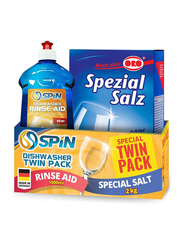 Spin Dishwasher Twin Pack, Rinse Aid Liquid 1000ml + Oro Special Salt 2 Kg