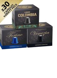 Real Coffee Venezia, Columbia, & Torino Nespresso Compatible Coffee, 3 Boxes x 30 capsules