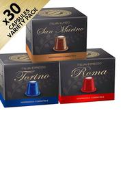 Real Coffee Roma, San Marino, & Torino Nespresso Compatible Coffee, 4 Boxes x 30 Capsules