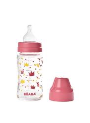 Beaba Wide Neck Glass Bottle 240ml, Pink