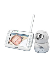 VTech Safe and Sound 4.3 Inch TFT LCD Sccreen Digital Video and Audio Baby Monitor in Owl Housing with Motorised Pan and Tilt, White/Grey
