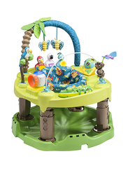 Evenflo ExerSaucer Triple Fun Life In The Amazon Baby Bouncer, with Lights and Music, Green/Blue