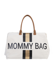 Childhome Mommy Big Diaper Bag, Stripes, Black/Gold/Off White
