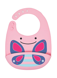 Skiphop Zoo Fold & Go Silicone Bib, Butterfly, Pink