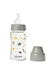 Beaba Wide Neck Glass Bottle 240ml, Grey