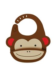 Skiphop Zoo Fold & Go Silicone Bib, Monkey, Brown