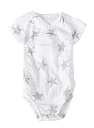 Aden + Anais Short Sleeved Bodysuit, 3-6 Months, Medium Silver Star