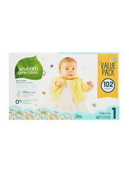 Seventh Generation Free & Clear Diapers, Stage 1, Newborn, 4-6 kg, Triple Mega Pack, 102 Count
