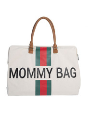 Childhome Mommy Big Diaper Bag, Stripes, Green/Red/Off White