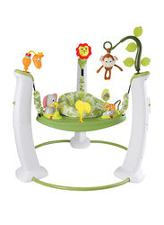 Evenflo ExerSaucer Safari Friends Stationary Jumper Baby Bouncer, with Lights and Music, Green