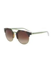 Emporio Armani Retro Half Rim Clubmaster Green Sunglasses for Women, Brown Gradient Lens, EA 4092 5026/13, 53/21/140