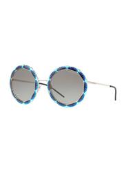 Emporio Armani Full Rim Round Silver Sunglasses for Women, Grey Lens, EA2054 3015/11, 55/25/145