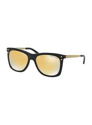 Michael Kors Lex Full Rim Square Black Sunglasses for Women, Mirrored Gold Lens, MK2046 31607P, 54/17/135