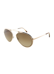 Tom Ford Full Rim Aviator Gold Sunglasses Unisex, Brown Lens, TF508 28F, 53/18/145
