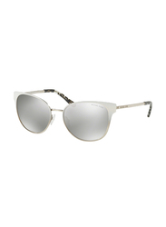 Michael Kors Tia Full Rim Cat Eye White Gradient Silver-Tone Sunglasses Women, Mirrored Silver Lens, MK1022 11846G, 54/17/140