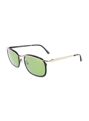 Tom Ford Marcello Full Rim Rectangular Gold/Black Sunglasses for Women, Green Lens, TF419 05N, 53/19/140