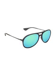 Ray-Ban Polarized Full Rim Aviator Matte Black Sunglasses Unisex, Mirrored Blue/Green Lens, RB4201 622/3R, 59/15/145
