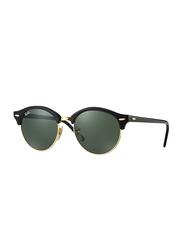 Ray-Ban Polarized Full Rim Round Black Sunglasses for Women, Classic Green Lens, RB424690151, 51/19/145