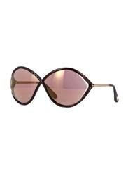 Tom Ford Liora Full Rim Oval Frame Dark Havana Sunglasses for Women, Pink Lens, FT0528 52Z, 70/5/120