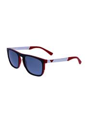 Emporio Armani Full Rim Square Red/Black Sunglasses for Men, Grey Mirrored Lens, EA 4114 5672/6G, 55/20/145