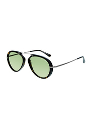 Tom Ford Aaron Tortoiseshell Full Rim Aviator Brown Sunglasses Unisex, Green Lens, FT0473-52N, 53/17/145