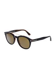 Tom Ford Newman Polarized Full Rim Oval Black Sunglasses for Women, Brown Lens, FT0515 05H, 53/21/145