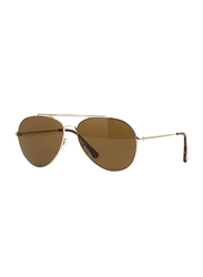 Tom Ford Indiana Polarized Full Rim Aviator Gold/Brown Sunglasses Unisex, Brown Lens, TF 497 28H 58, 58/14/140