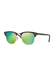 Ray-Ban Polarized Full Rim Clubmaster Tortoise Sunglasses for Men, Mirrored Green Flash Lens, RB3016-1145/19-51, 51/21/145