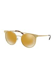 Michael Kors Grayton Full Rim Round Gold Sunglasses for Women, Mirrored Gold Lens, MK1030 11684Z, 52/19/140