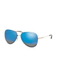 Michael Kors La Jolla Rimless Aviator Gold Sunglasses for Women, Mirrored Blue Lens, MK1026 1116F3, 59/13/135