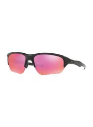 Oakley Flak Beta Half Rim Rectangular Matte Black Sunglasses for Women, Mirrored Prizm Lens, OO9363-06, 64/8/131