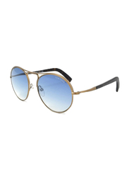 Tom Ford Jessie Full Rim Aviator Brushed Antique Matte Gold Sunglasses Unisex, Tortoise Blue Lens, TF449-37W, 54/18/145